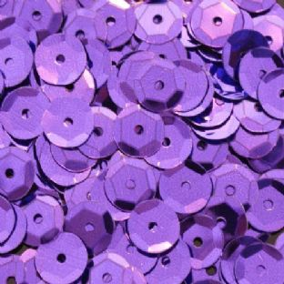 Value Pack 50g 8mm Metallic Purple Semi-cupped Sequins.